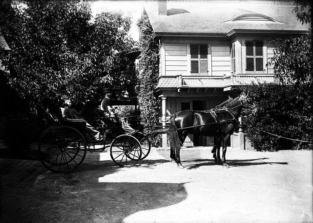 Sarah Winchester Outside of the Winchester Mystery House