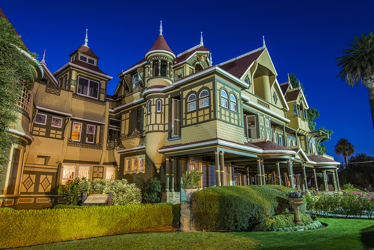 front gardens and door to nowhere at nighttime of the winchester mystery house in san jose california