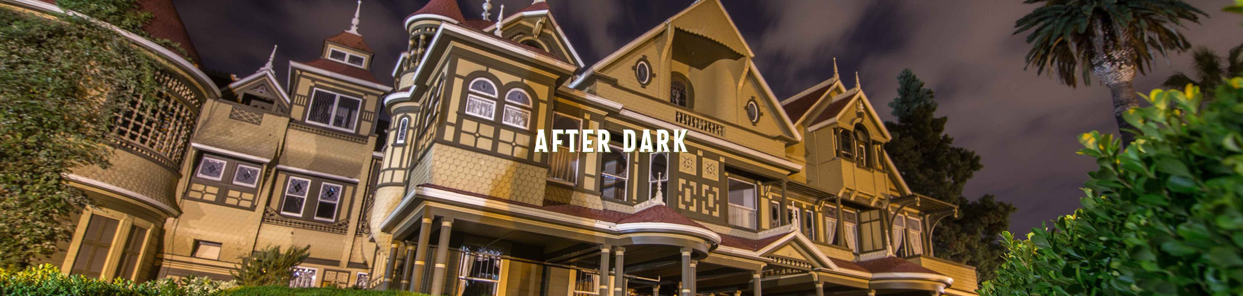winchester mystery house during night time