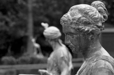 Statue of mother nature in black and white