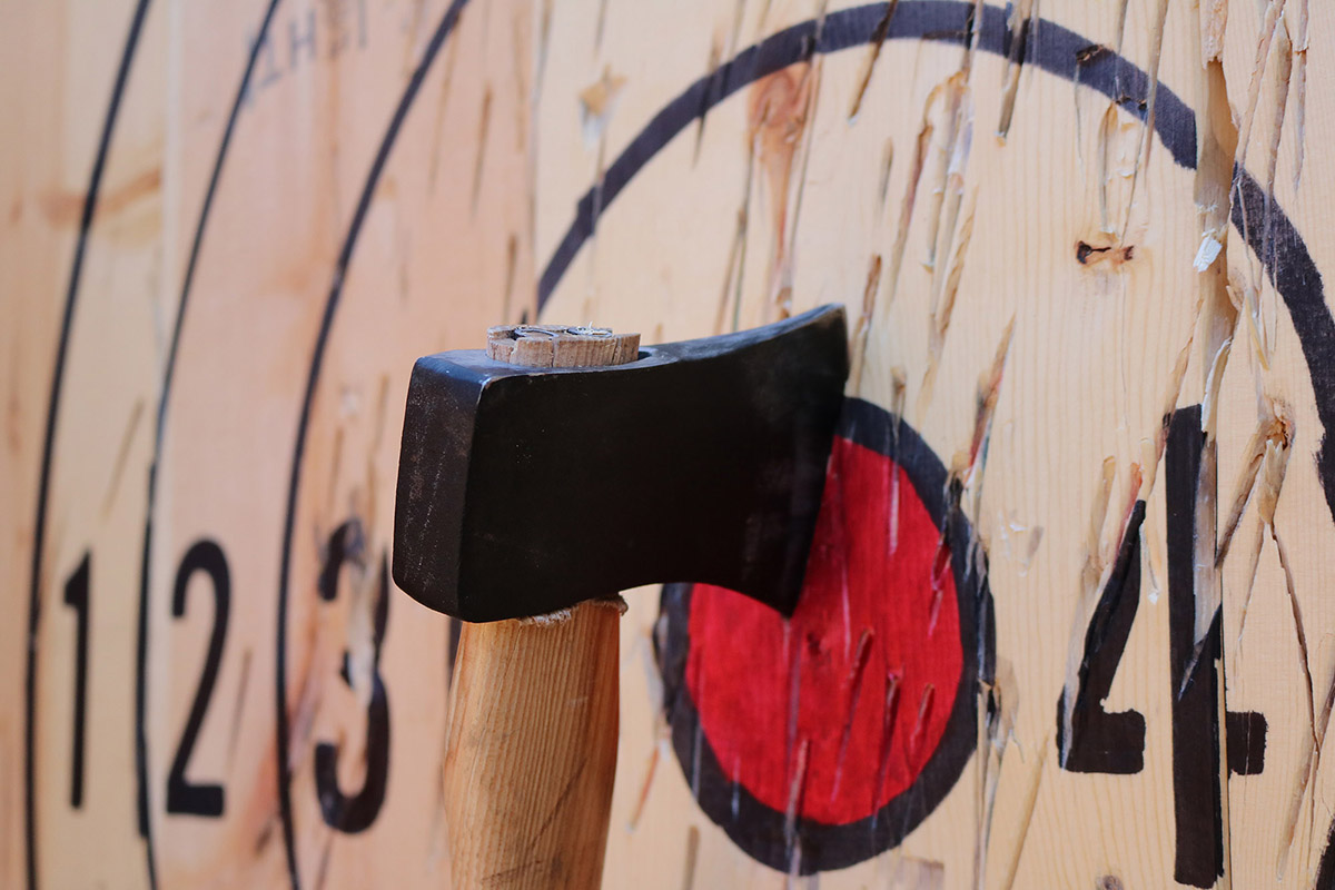 Axe throwing at the winchester mystery house