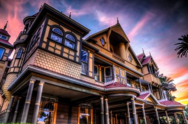Winchester Mystery House with cool background