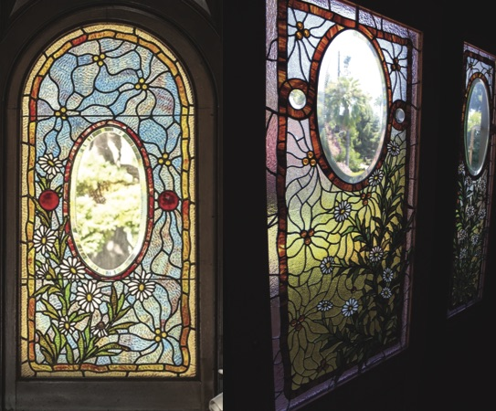 "Left, stained-glass window at the Craigdarroch Castle. Right, stained-glass ""Daisy"" window at the Winchester Mystery House. Notice the similarities in design!"
